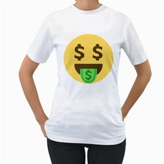 Money Face Emoji Women s T Shirt (white) (two Sided) by BestEmojis