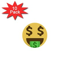 Money Face Emoji 1  Mini Buttons (10 Pack)  by BestEmojis