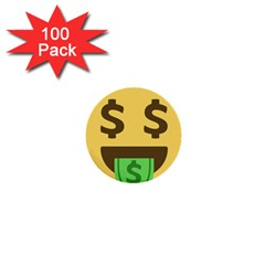 Money Face Emoji 1  Mini Buttons (100 Pack)  by BestEmojis