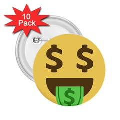 Money Face Emoji 2 25  Buttons (10 Pack)  by BestEmojis