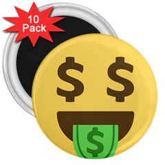 Money Face Emoji 3  Magnets (10 Pack)  by BestEmojis