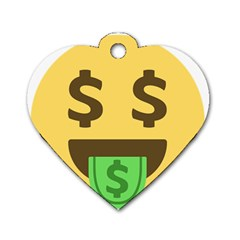 Money Face Emoji Dog Tag Heart (one Side) by BestEmojis