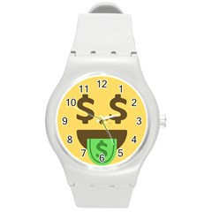 Money Face Emoji Round Plastic Sport Watch (m) by BestEmojis
