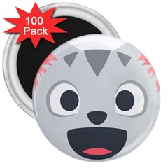 Cat Smile 3  Magnets (100 Pack) by BestEmojis