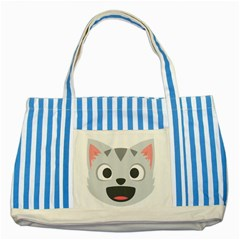 Cat Smile Striped Blue Tote Bag by BestEmojis