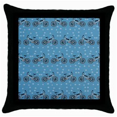 Bicycles Pattern Throw Pillow Case (black) by linceazul