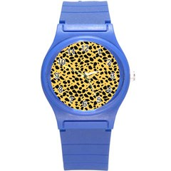 Skin Animals Cheetah Dalmation Black Yellow Round Plastic Sport Watch (s) by Mariart