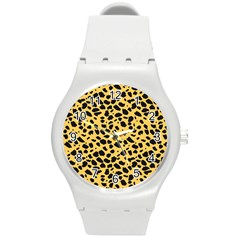 Skin Animals Cheetah Dalmation Black Yellow Round Plastic Sport Watch (m) by Mariart