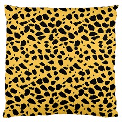 Skin Animals Cheetah Dalmation Black Yellow Large Flano Cushion Case (one Side) by Mariart
