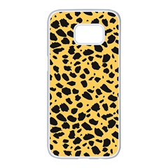 Skin Animals Cheetah Dalmation Black Yellow Samsung Galaxy S7 Edge White Seamless Case by Mariart