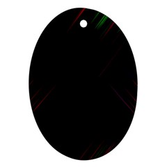 Streaks Line Light Neon Space Rainbow Color Black Ornament (oval) by Mariart