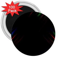 Streaks Line Light Neon Space Rainbow Color Black 3  Magnets (100 Pack) by Mariart