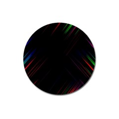 Streaks Line Light Neon Space Rainbow Color Black Magnet 3  (round) by Mariart
