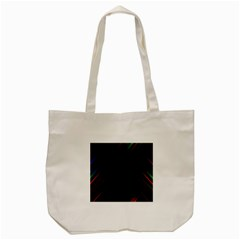 Streaks Line Light Neon Space Rainbow Color Black Tote Bag (cream) by Mariart