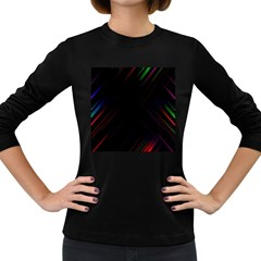 Streaks Line Light Neon Space Rainbow Color Black Women s Long Sleeve Dark T-shirts by Mariart