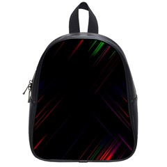 Streaks Line Light Neon Space Rainbow Color Black School Bags (small)  by Mariart