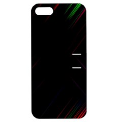 Streaks Line Light Neon Space Rainbow Color Black Apple Iphone 5 Hardshell Case With Stand by Mariart