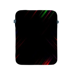 Streaks Line Light Neon Space Rainbow Color Black Apple Ipad 2/3/4 Protective Soft Cases by Mariart