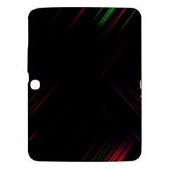 Streaks Line Light Neon Space Rainbow Color Black Samsung Galaxy Tab 3 (10 1 ) P5200 Hardshell Case