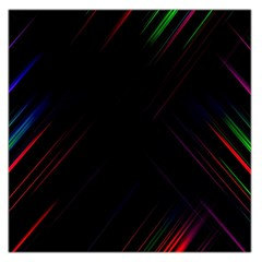 Streaks Line Light Neon Space Rainbow Color Black Large Satin Scarf (square) by Mariart