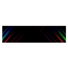 Streaks Line Light Neon Space Rainbow Color Black Satin Scarf (oblong) by Mariart