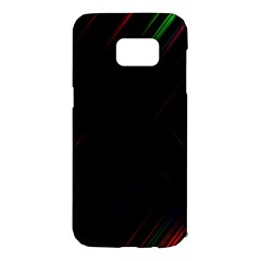 Streaks Line Light Neon Space Rainbow Color Black Samsung Galaxy S7 Edge Hardshell Case by Mariart
