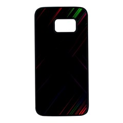 Streaks Line Light Neon Space Rainbow Color Black Samsung Galaxy S7 Black Seamless Case by Mariart