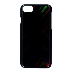 Streaks Line Light Neon Space Rainbow Color Black Apple Iphone 7 Seamless Case (black) by Mariart