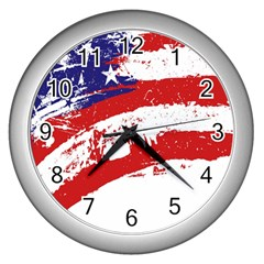 Red White Blue Star Flag Wall Clocks (silver)