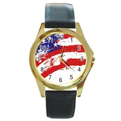 Red White Blue Star Flag Round Gold Metal Watch by Mariart