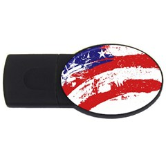 Red White Blue Star Flag Usb Flash Drive Oval (4 Gb) by Mariart