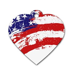 Red White Blue Star Flag Dog Tag Heart (one Side) by Mariart