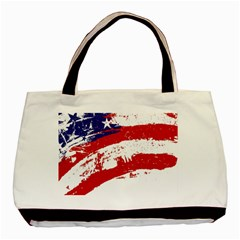 Red White Blue Star Flag Basic Tote Bag (two Sides) by Mariart