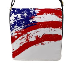Red White Blue Star Flag Flap Messenger Bag (l)  by Mariart