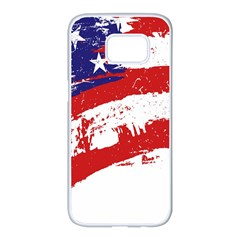 Red White Blue Star Flag Samsung Galaxy S7 Edge White Seamless Case by Mariart