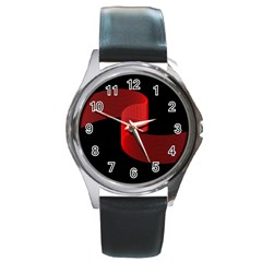 Tape Strip Red Black Amoled Wave Waves Chevron Round Metal Watch by Mariart