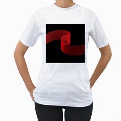 Tape Strip Red Black Amoled Wave Waves Chevron Women s T Shirt (white) (two Sided) by Mariart