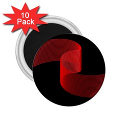 Tape Strip Red Black Amoled Wave Waves Chevron 2 25  Magnets (10 Pack)  by Mariart