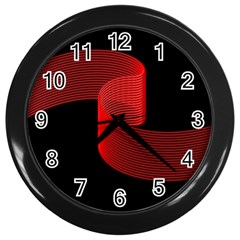 Tape Strip Red Black Amoled Wave Waves Chevron Wall Clocks (black) by Mariart