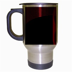 Tape Strip Red Black Amoled Wave Waves Chevron Travel Mug (silver Gray)