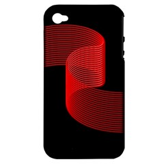 Tape Strip Red Black Amoled Wave Waves Chevron Apple Iphone 4/4s Hardshell Case (pc+silicone) by Mariart
