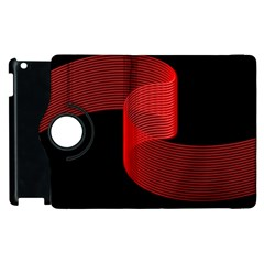 Tape Strip Red Black Amoled Wave Waves Chevron Apple Ipad 3/4 Flip 360 Case by Mariart