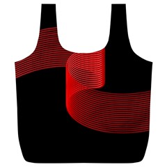 Tape Strip Red Black Amoled Wave Waves Chevron Full Print Recycle Bags (l)  by Mariart