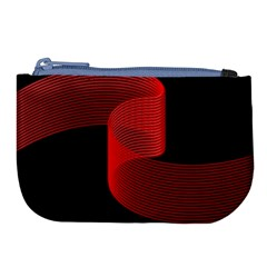 Tape Strip Red Black Amoled Wave Waves Chevron Large Coin Purse by Mariart