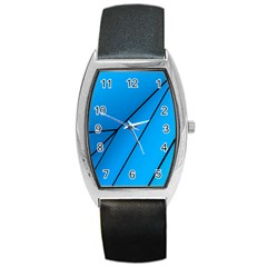 Technical Line Blue Black Barrel Style Metal Watch by Mariart