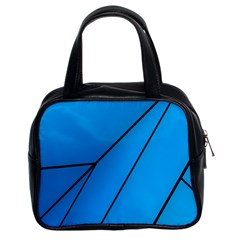 Technical Line Blue Black Classic Handbags (2 Sides) by Mariart
