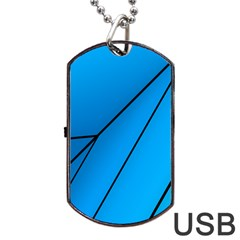 Technical Line Blue Black Dog Tag Usb Flash (two Sides) by Mariart