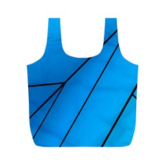 Technical Line Blue Black Full Print Recycle Bags (m)  by Mariart