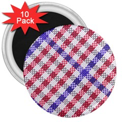 Webbing Wicker Art Red Bluw White 3  Magnets (10 Pack)  by Mariart