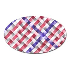 Webbing Wicker Art Red Bluw White Oval Magnet